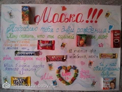 Плакат со сладостями на день рождения своими руками