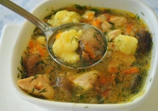 Суп с гречкой и картофельными галушками